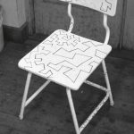 Drawings on the chair, 1984, Acrylic paint on chair
